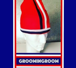 Other - Snowboarding 90's red knit white+navy blue stripes